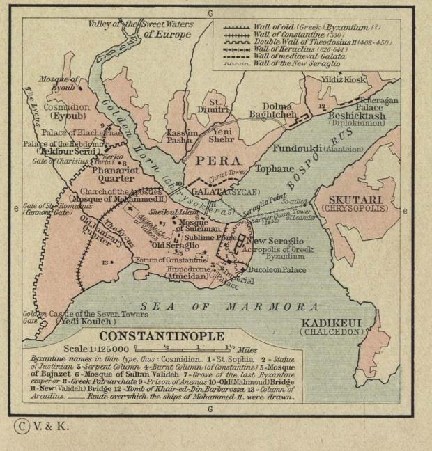 Peta Tua Wilayah Constantinople dan Laut Marmara